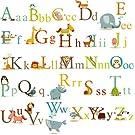 Classic Animals Alphabet Baby Nursery Peel & Stick Wall Art Sticker Decals