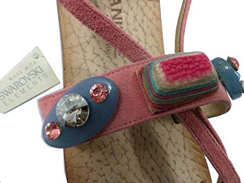 EDDY DANIELE 37 EU Sandalias Mujer Rosa Gamuza / Cristales Swarovski AW198/AW199