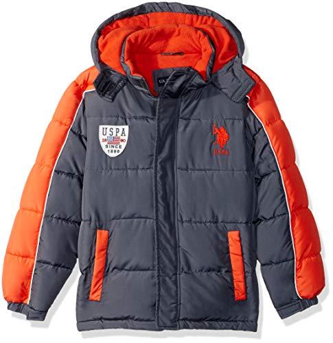US Polo Association Boys' Big Bubble Vestee Jacket with Fleece Hood, Charcoal, 10/12