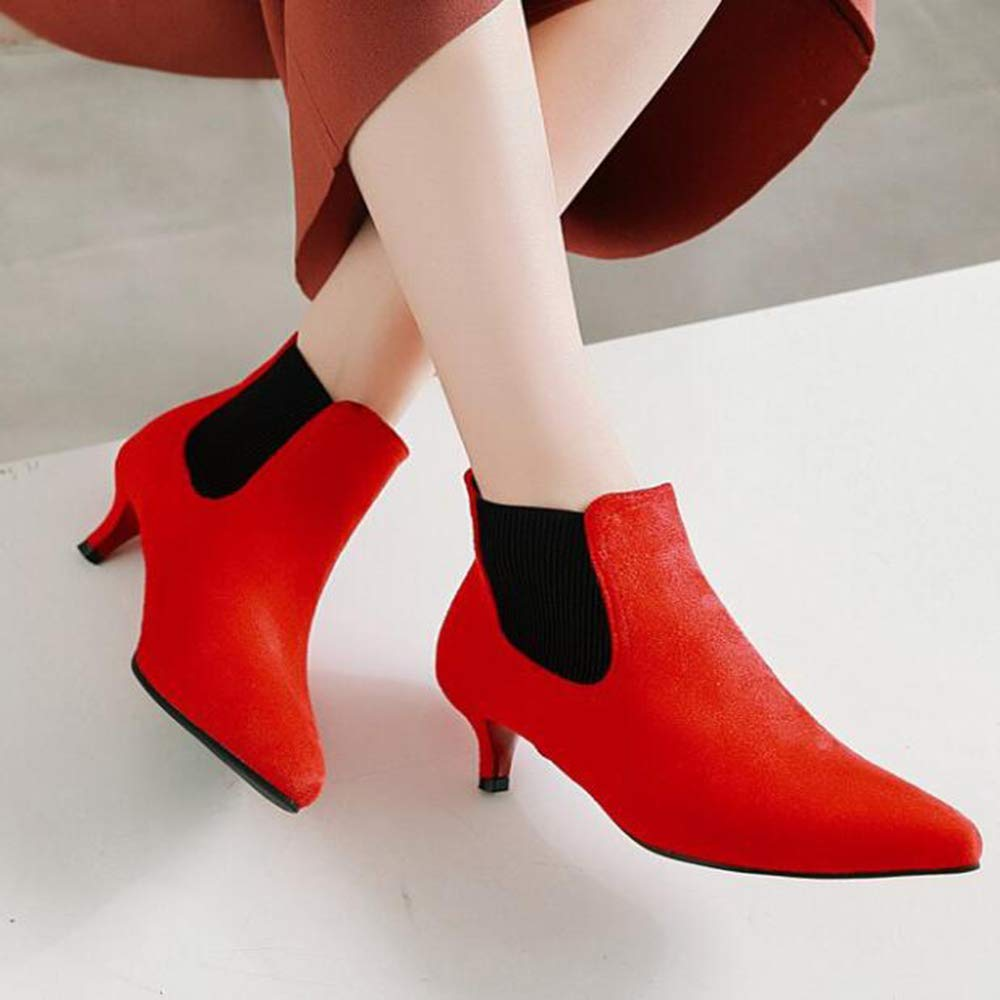Autumn Women's Boots Pointed Head Head Head with Short Boots Elastic Band Stiletto Large Size Women's Boots Fashion Boots,Red,UK2/EUR36 B07G5R8FZF Boots 72303a