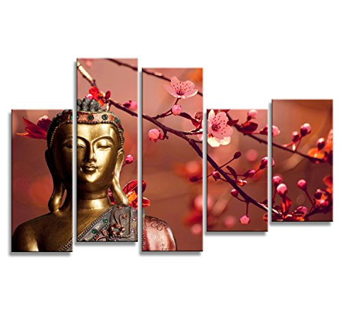 Print Artwork Golden Buddha Wall Art Decor Poster Artworks For Homes 5 Panel Canvas Prints Picture Plum Blossom Pictures Painting On Canvas Modern Religious Theme Home Office Decor