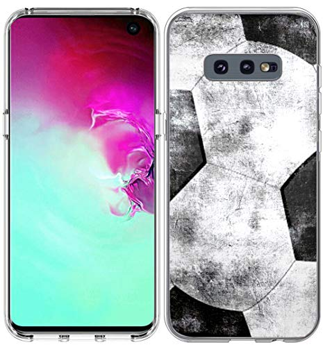 - S10E Case Design/IWONE Designer Rubber Durable Protective Skin Transparent Cover Shockproof Compatible for Samsung Galaxy S10E Colorful Creative Vintage Soccer Football