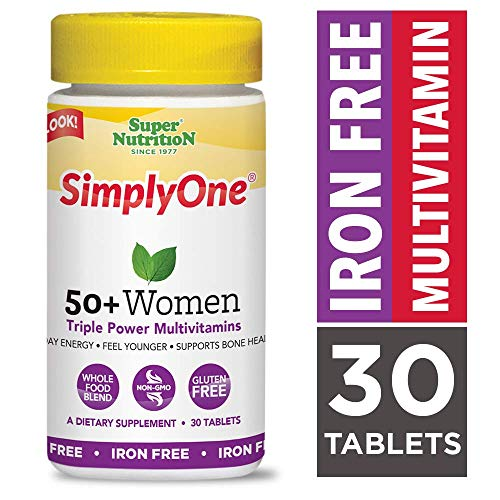 SimplyOne Multivitamin for Women 50+, Iron Free, Daily All-In-One Vitamin by SuperNutrition, 30 Day Supply; Best Value Pack