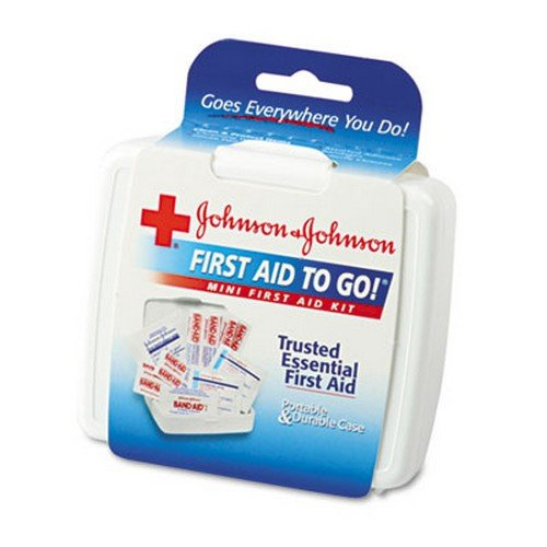 Johnson Mini First Aid - Johnson & Johnson Red Cross Mini First Aid To Go Kit, 12 Pieces, Plastic Case, EA - JOJ8295