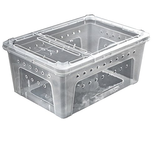 DREAMER.U Portable Reptile Terrarium Habitat Reptile Hatching Container for tarantulas, geckos, crickets, snails, hermit crabs, frogs, lizards, baby tortoise and snakes (Large, White) by DREAMER.U (Image #1)