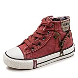 Spring Children Leisure Canvas Shoes Side Zipper Girls Lace Up Platform Shoes Kids Footwear Red 10