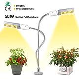 HIGROW 50W LED Grow Light White, Sunlike 100 LED Full Spectrum Grow Lamp Bulbs, Plant Light for Indoor Plants