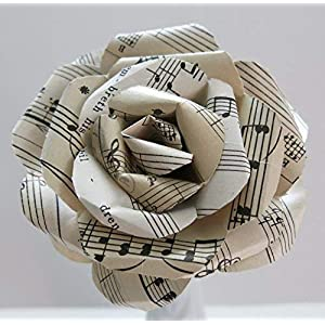 "Vintage Sheet Music Paper Rose on Stem, Sculpted Flower, Black & White Large 4"" Single Bloom, Music Theme Party Decor, Band Teacher Gift Idea 15"