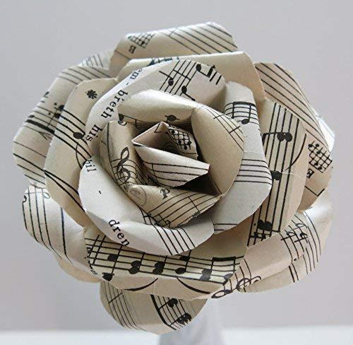 Vintage Sheet Music Paper Rose on Stem, Sculpted Flower, Black & White 4 Inch Single Bloom, Music Theme Party Decor, Band Teacher Gift ()