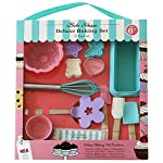 Handstand Kitchen Bake Shoppe 25-piece Deluxe Real Baking Set with Recipes for Kids 4 You will quickly decide that cookies and milk are even more fun when you've made your snack with the help of your kids and this Deluxe Baking Set Complete 25 piece set includes everything you need to bake everything from cookies to cupcakes to quick breads with your children Includes 1 spatula, 1 pastry brush, 1 mixing spoon, 1 silicone bundt cake mold, 1 silicone loaf pan, 6 silicone baking cups, 1 flower shaped cookie turner, 1 whisk, 4 cookie press molds and 8 recipe cards