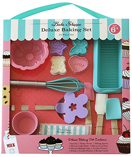 Handstand Kitchen Bake Shoppe 25-piece Deluxe Real Baking Set with Recipes for Kids ()