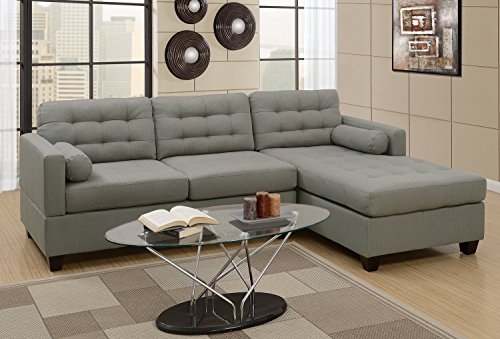 2Pcs Modern Grey Linen-Like Fabric Reversible Sectional Sofa Chaise Set with Accent Tufting by Advanced Furniture