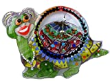 A decorative fused glass wall clock ''Funny Turtle''