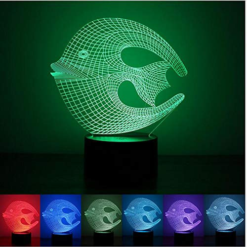 - SWPYD 3D Night Light New Tropical Coral Fish 3D USB Led Lamp Moon Ichthyic E Colorful Bedroom Livingroom Night Light Decoration Gadget Props