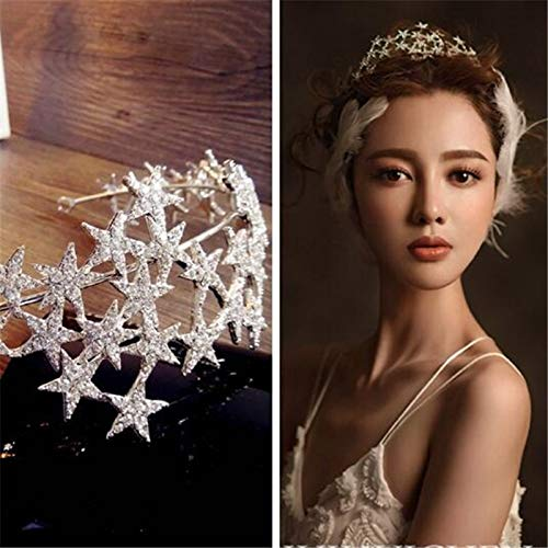 Lessonmart Multilayer Rhinestone Star Wedding Crown for Women Fashion Simple Silver Bridal Tiara Hair Dress Accessories by Lessonmart