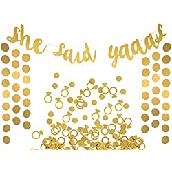 She Said Yaaas Banner, Garland & Confetti Set - Bachelorette, Engagement or Wedding Party Decorations - Sparkly Gold Decorations with Super Fun Diamond Ring & Circle Confetti