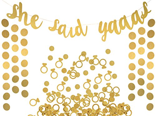 She Said Yaaas Banner, Garland & Confetti Set - Bachelorette, Engagement or Wedding Party Decorations - Sparkly Decorations with Super Fun Diamond Ring & Circle Confetti (Gold)
