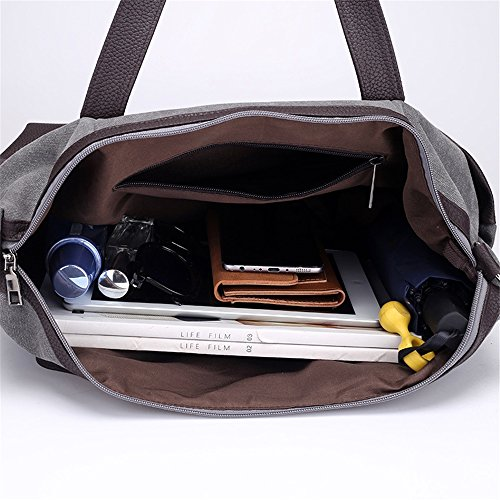 everyday Vintage use capacity Capacity Tote Suitable Canvas Bag Cortical for Splicing Asdflina Large Casual Large Commuter Ztq5HZ6wA