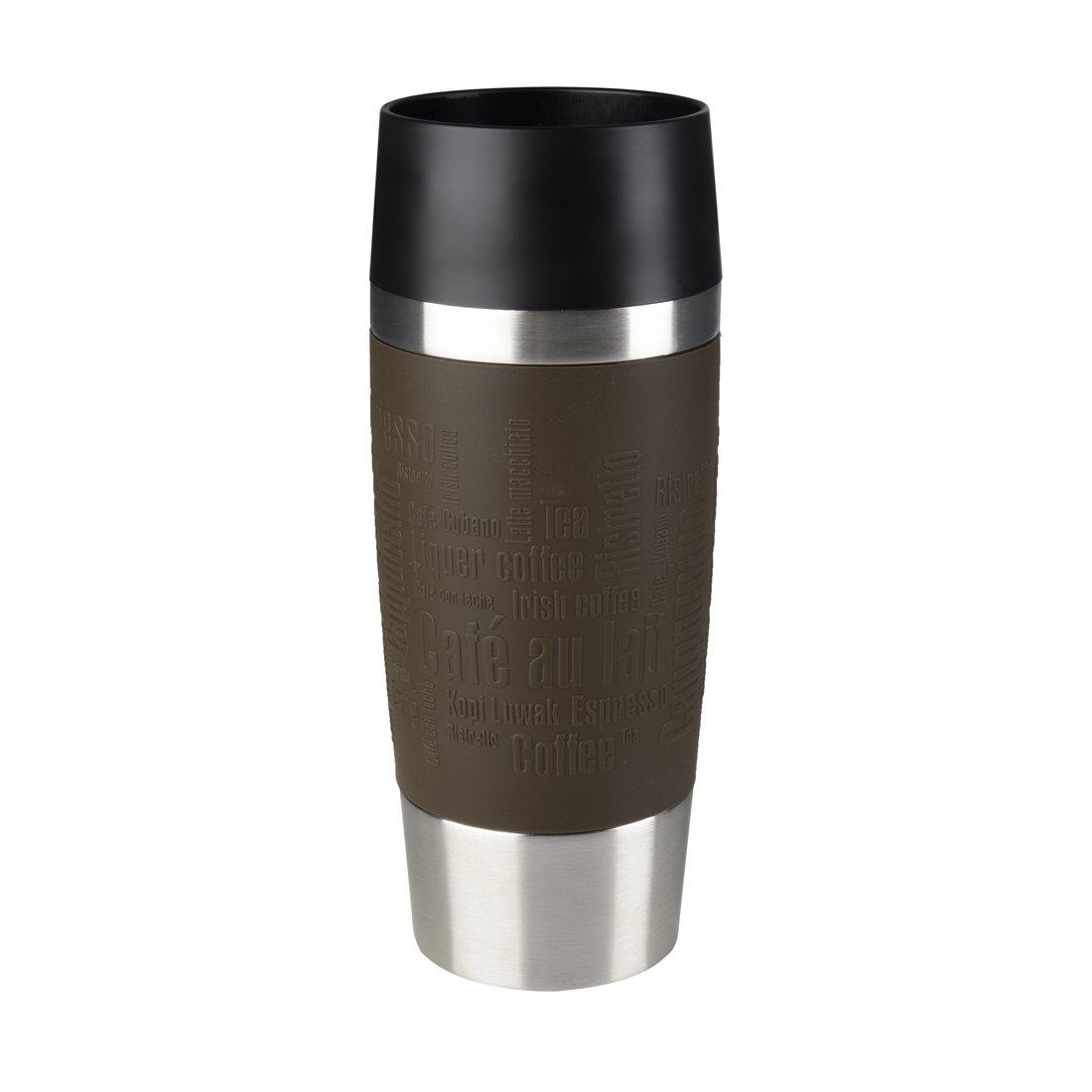 Coffee-Blau Emsa Isolierbecher Mobil genie/ßen 360 ml Quick Press Verschluss Travel Mug Manschette Brombeer