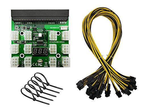 Golden Village 1200W/750W Server PSU Power Supply Unit to GPU Breakout Board Adapter & 12pcs 18AWG 6-Pin PCIe to 8-Pin (6+2Pin) PCIe Graphics Card Power Cables for Ethereum Mining ETH ZEC LTC