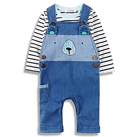 Baby Boys Jeans Romper Sets Toddler Doggy Jumpsuit Outfit with Suspenders & Tee, 100, Blue - New Mens Southern Thread