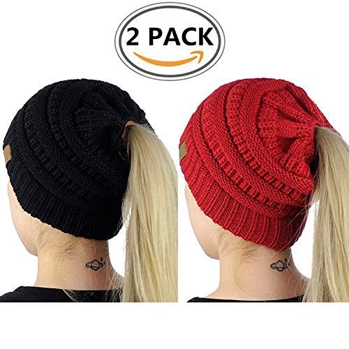 WOZHIFU BeanieTail Womens Ponytail Messy Bun Beanie Solid Ribbed Hat Cap,2 Pack