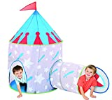 Children Knight Castle Kids Play Tent and Tunnel Set with Travel Case - Colorful Outdoor Pop Up Play Tent Adventure Kit for Kids Party Events | Backyards | Camping | BBQs - Perfect for Girls