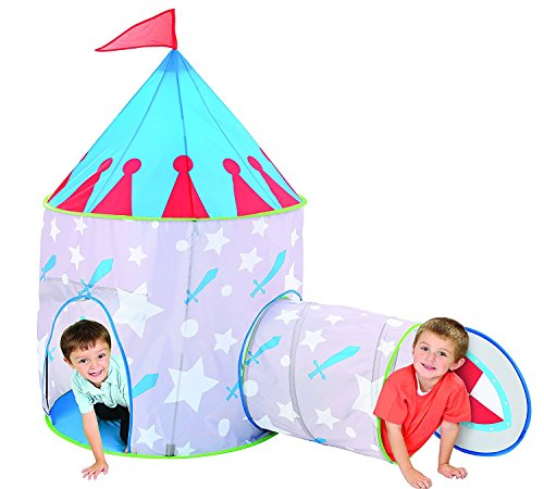 Children Knight Castle Kids Play Tent and Tunnel Set with Travel Case - Colorful Outdoor Pop Up Play Tent Adventure Kit for Kids Party Events | Backyards | Camping | BBQs - Perfect for Girls by Etna