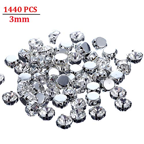 - Jyukan 1440 Pcs Sew on Crystals Glass Rhinestones Silver Settings Rhinestone Embellishments for Clothing Wedding Dress,3mm