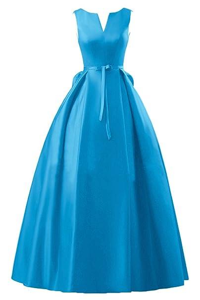 Sunvary a-Line lazo cuello en V Sash Novia, vestidos de fiesta vestidos azul