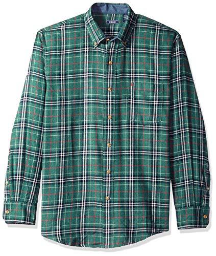 IZOD Men's Stratton Long Sleeve Button Down Plaid Flannel Shirt, Botanical Garde, X-Large