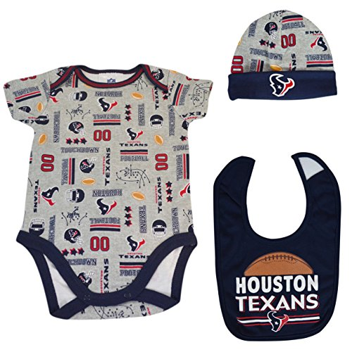 Official National Football League Fan Shop Authentic NFL Baby 3-pc Body Suit Onesie, Cap and Bib Bundled Set (Houston Texans, 0/3 months)