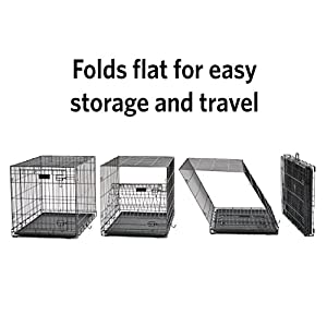 Dog Crate   MidWest iCrate XS Folding Metal Dog Crate w/Divider Panel, Floor Protecting Feet & Leak-Proof Dog Tray   22L x 13W x 16H inches, XS Dog Breed, Black