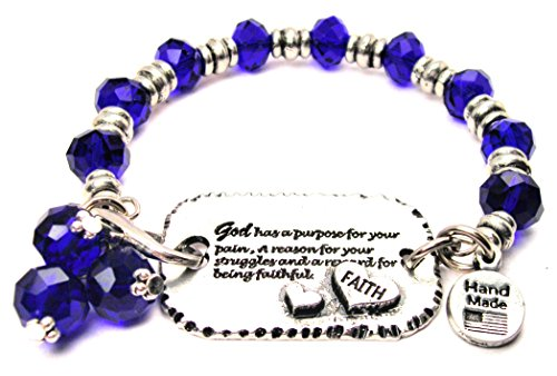 God HAS a Purpose for Your Pain Expression Armor Sapphire Crystal Bracelet