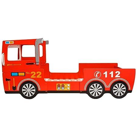 Festnight Children S Car Bed Fire Engine Bed For Kids Wooden Red