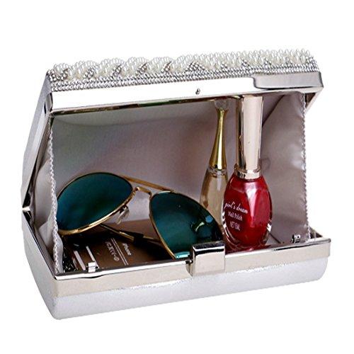 del mujeres del de Silver FUBULE Bolso del perla las embrague perla de de bolso la de las seoras del del bolso Bolso banquete banquete seoras la de las qIwZO