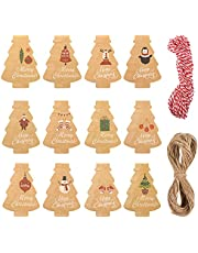 SAVITA 120 Pcs Christmas Tree Gift Tags, with Twine Kraft Paper Tag for Christmas Trees Presents Red Wines Bottles Plants Stamps Business Cards Labels