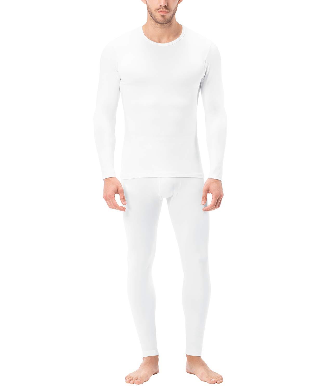 LAPASA Men's Lightweight Thermal Underwear Long John Set Fleece Lined Base Layer Top and Bottom M11 (XX-Large, White) by LAPASA