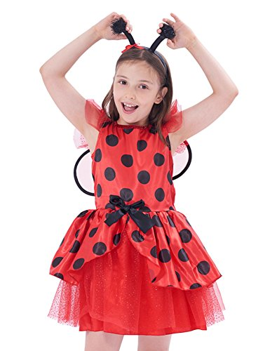 IKALI Girls Ladybug Costume for Kids, Ballerina Beetle Wings Fancy Dress up Outfit, Miraculous Ladybug Skirt Suit (7-8Y) for $<!--$16.89-->