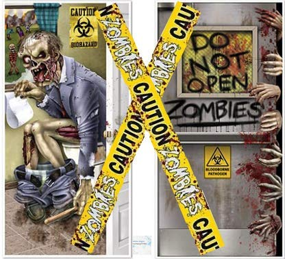 Zombie Halloween Decorations - Zombie Door Cover Set + Zombie Caution Tape - Perfect Halloween Zombie Door Decorations!