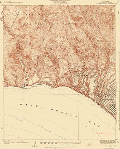 Topographical Map - Topanga Canyon California Quad - USGS 1928 - 23 x 28.44 - Matte - Canyon Map Of Topanga