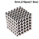 5mm Magnetic Fidget Blocks Ball, EVERMARKET Magnetic Sculpture Toy for Intelligence Development, a Great Toy for Office, Home, and Everywhere - with a Metal Gift Box (216 pcs,1 Box)