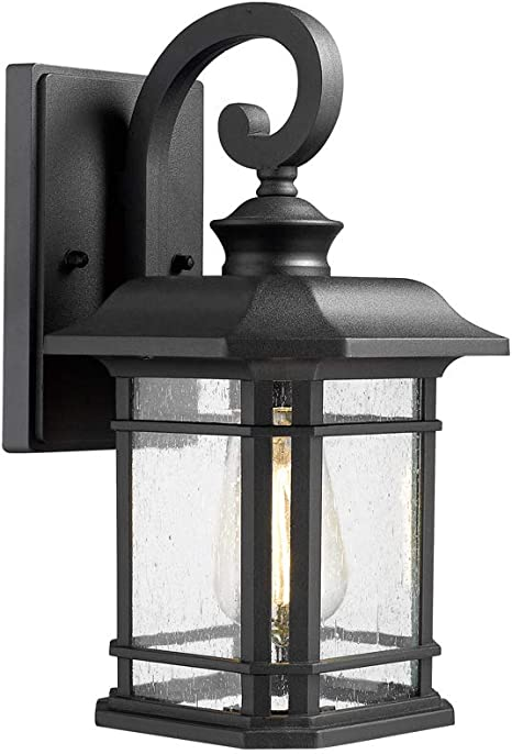 Emliviar Outdoor Wall Lantern Lights 1 Light Exterior Wall Sconce Lamp Black Finish With Clear Seeded Glass 2084b Bk Amazon Com