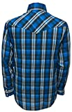 ELY CATTLEMAN Long Sleeve Tall Mens Polycotton Plaid Snap Western Shirt - Blue
