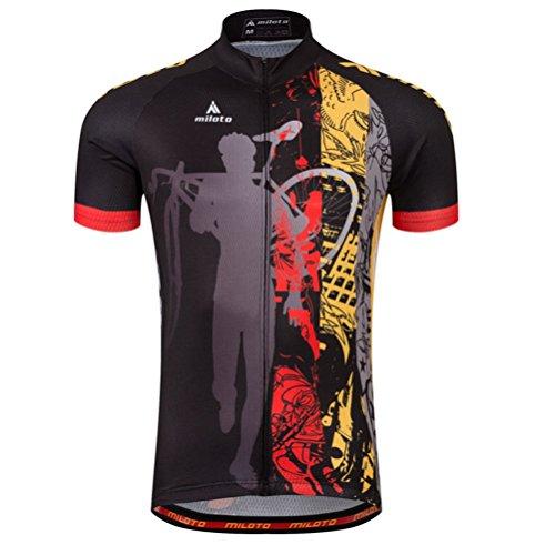 (Uriah Men's Cycling Jersey Short Sleeve Reflective Night Rider Size 5XL(CN))
