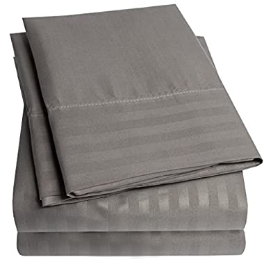 1500 Supreme Collection Dobby Striped Sateen 4 Piece Bed Sheet Set Deep Pocket - All Sizes, 23 Colors - Queen, Dobby Stripe Dark Gray