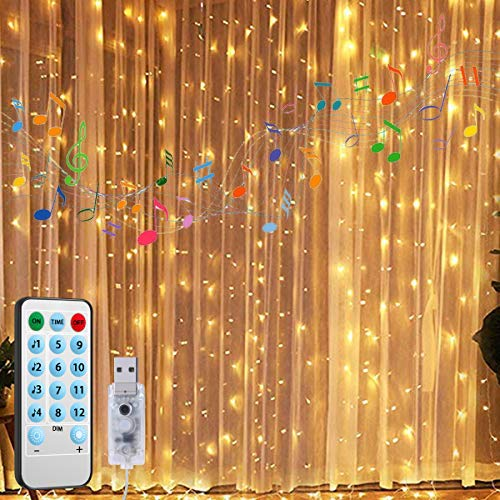 AMIR Upgraded Window Curtain String Lights, 300 LED 9.8ftX9.8ft USB Powered String Lights, 4 Music Control Modes 8 Lighting Modes Waterproof Decorative Lights for Wedding, Home, Party, Bedroom (For Bedroom Ideas Light String)
