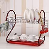 LIWEIKE Modern Kitchen 2-Tier Dish Drying Rack with Drainboard,Stainless Steel Kitchen Storage - Quick Dry with Drip Tray (Wine red)