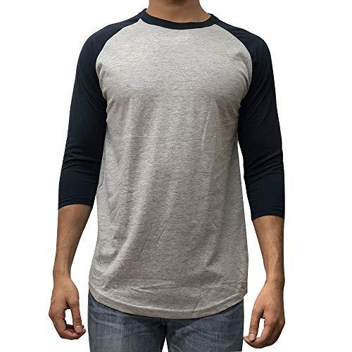 KANGORA Men's Plain Raglan Baseball Tee T-Shirt Unisex 3/4 Sleeve Casual Athletic Performance Jersey Shirt (24+ Colors) (Gray Navy, X-Large)