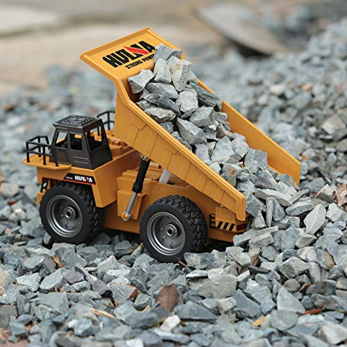 WEIJIJ 1:18 RC Truck 6CH Dump Pickup Truck Remote Control Simulation Construction Toys Boys Kids Gift Christmas Halloween New Year
